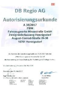 DB Autorisierungsurkunde